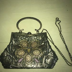 Hand beaded vintage style purse